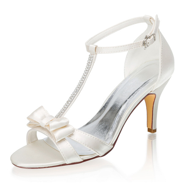 Women's Silk Like Satin Stiletto Heel Peep Toe Sandals With Bowknot Buckle