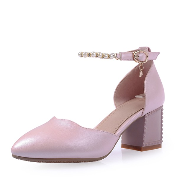 De mujer Cuero Tacón ancho Sandalias Salón Cerrados Mary Jane con Perlas de imitación Hebilla zapatos