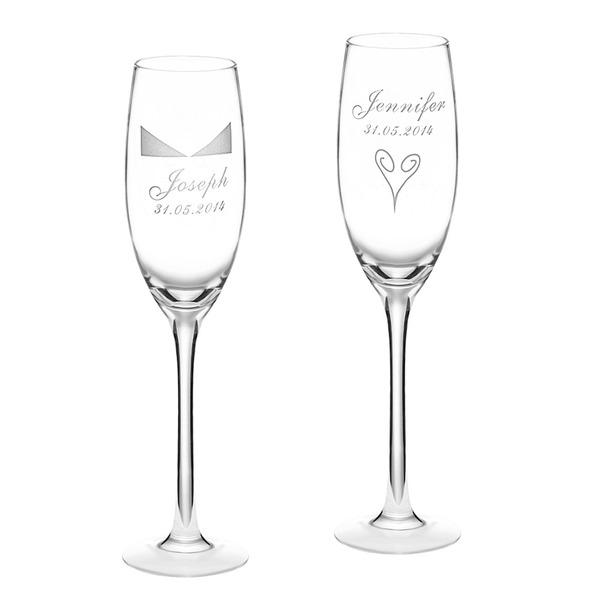 personnalisé Élégante Verre Flûtes à champagne (Lot de 2)