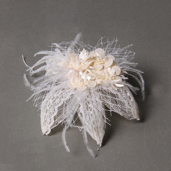 Elegante Piuma/Tyll/Similpelle Pettine & clip di capelli