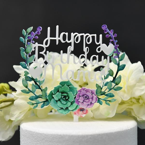 Une fleur/Joyeux anniversaire Acrylique Décoration pour gâteaux (Vendu dans une seule pièce)