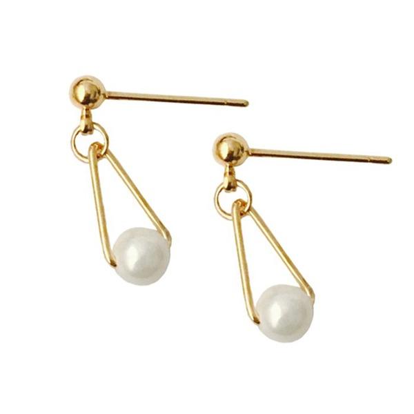 Mode Legierung Faux-Perlen mit Nachahmungen von Perlen Frauen Art-Ohrringe (Set von 2)