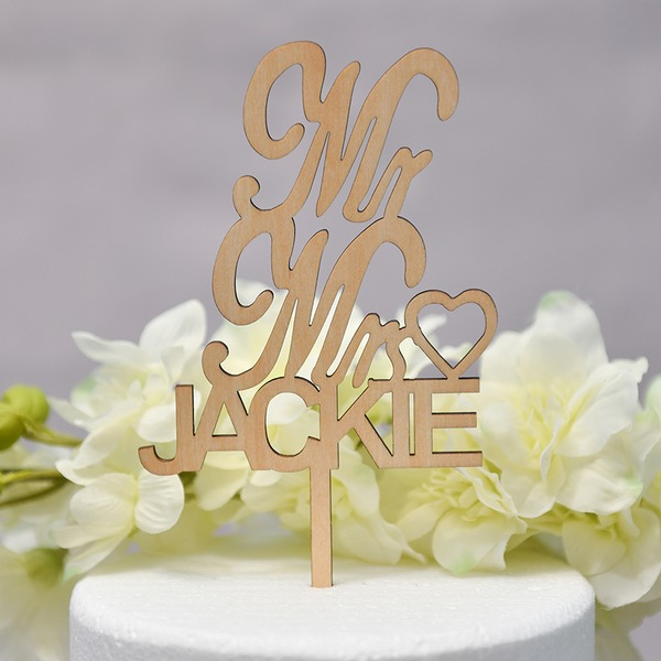 Personalized Mr. & Mrs. Wood Cake Topper (Sold in a single piece)