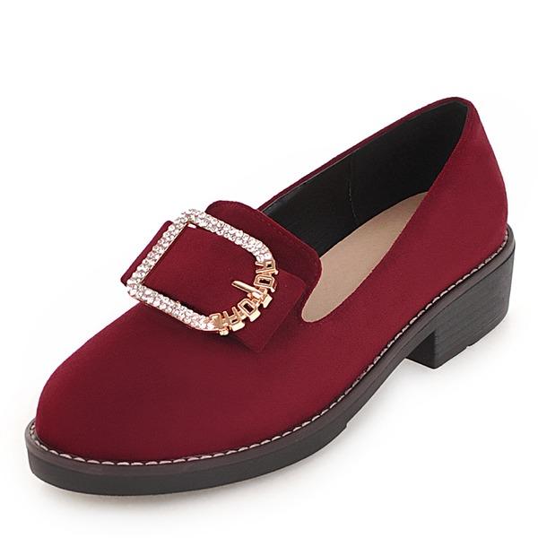 Mulheres Camurça Couro Sem salto Sem salto com Strass Fivela sapatos