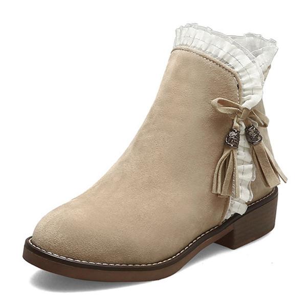 Vrouwen Suede Chunky Heel Enkel Laarzen met Satijnen Strik Rits Tassel schoenen