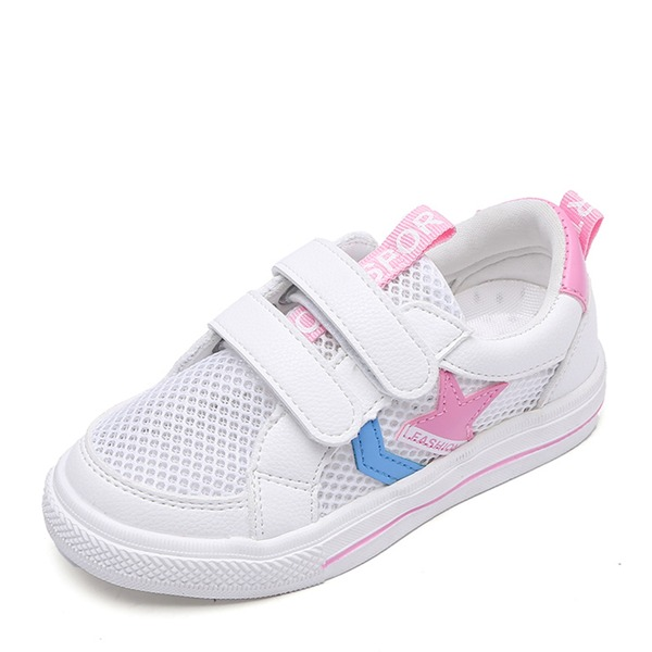 Unisex Closed Toe Mesh Flat Heel Sneakers & Athletic With Velcro Printing