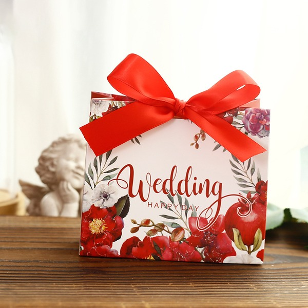 Sweet Love Cuboid Card Paper Favor Boxes With Flowers (Set of 30)