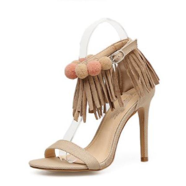 Frauen Baumwollstoff Stöckel Absatz Sandalen Absatzschuhe Peep Toe mit Schnalle Reißverschluss Quaste Schuhe