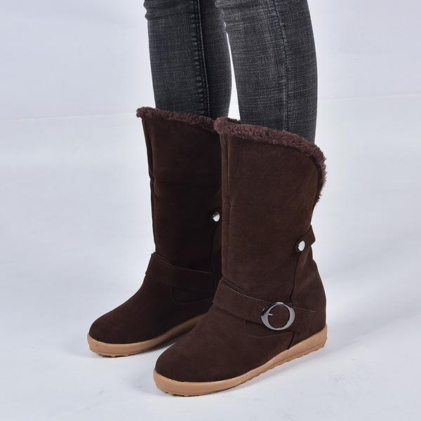 Mulheres Camurça Sem salto Botas com Fivela sapatos