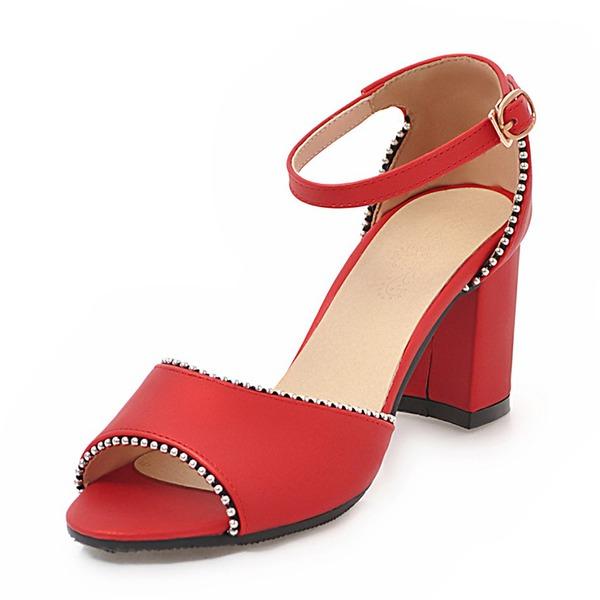 Donna PU Tacco spesso Sandalo con Fibbia scarpe