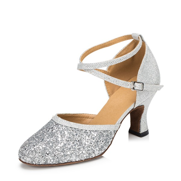 Women's Sparkling Glitter Heels Ballroom Dance Shoes
