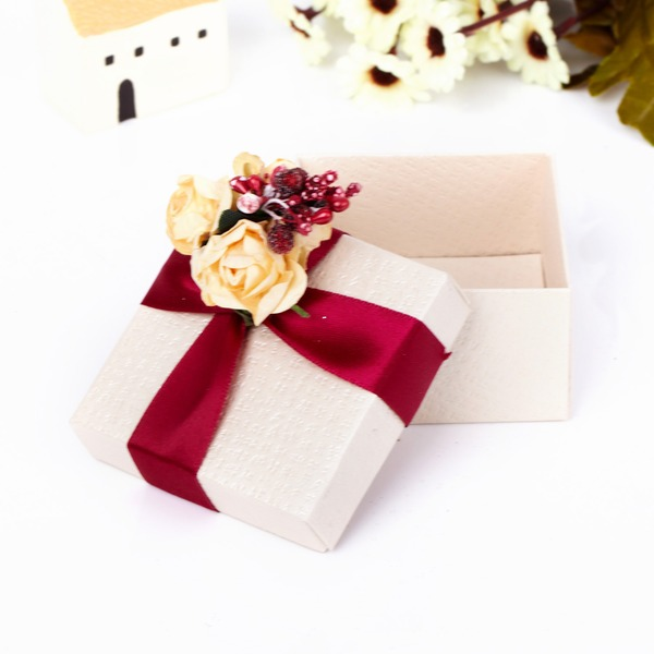 Classique Cuboïd Boîtes cadeaux avec Fleurs (Lot de 12)