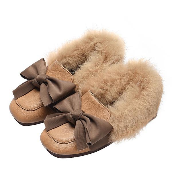 Fille de bout rond Bout fermé similicuir talon plat Chaussures plates avec Bowknot