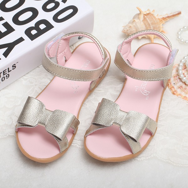 Girl's Peep Toe Real Leather Flat Heel Sandals Flats Flower Girl Shoes With Bowknot