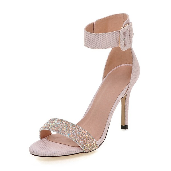 Women's Leatherette Stiletto Heel Sandals Pumps With Buckle shoes