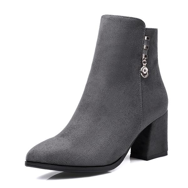 Kvinner Lær Stor Hæl Støvler Ankelstøvler med Spenne sko