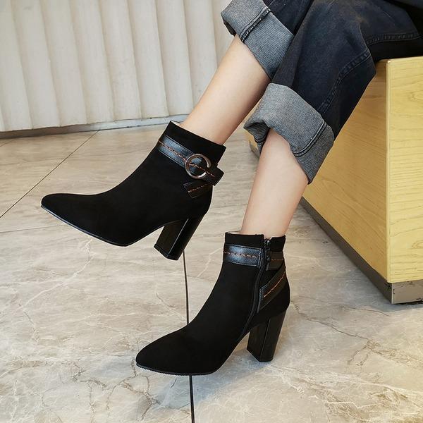 Vrouwen Suede Chunky Heel Pumps Laarzen أحذية