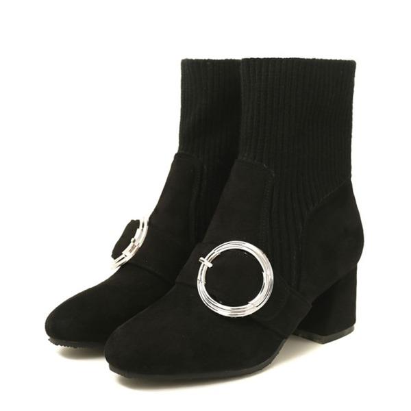 Mulheres Camurça Salto robusto Botas Botas na panturrilha sapatos