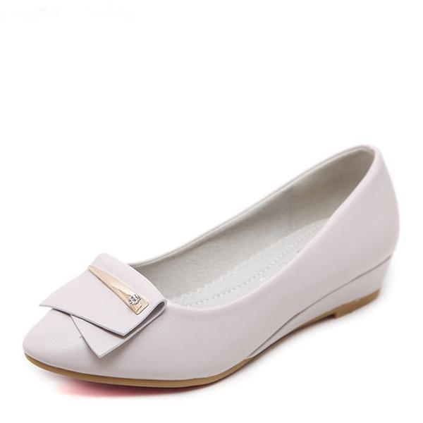 Vrouwen Kunstleer Wedge Heel Flats Closed Toe Wedges met Knoop schoenen