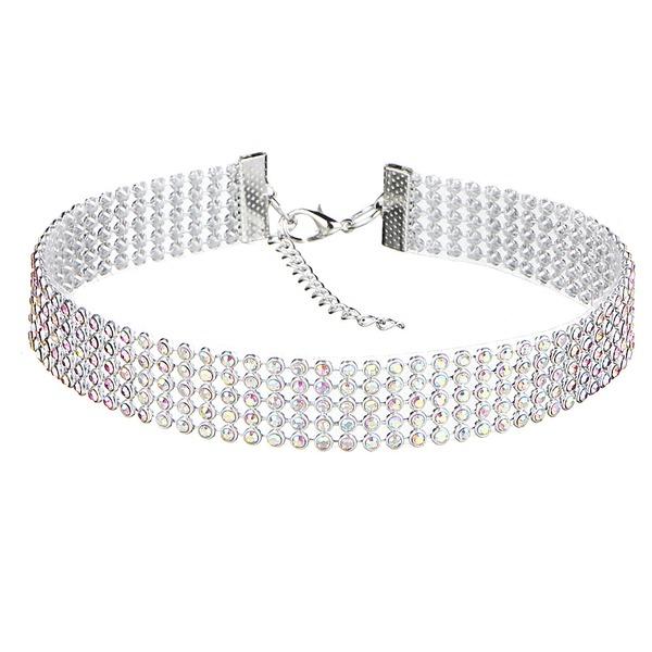 Einfache Legierung Strasssteine mit Strass Damen Mode-Halskette