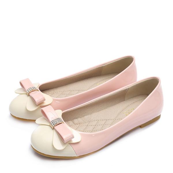 Frauen Lackleder Flascher Absatz Flache Schuhe Geschlossene Zehe mit Strass Bowknot Schuhe