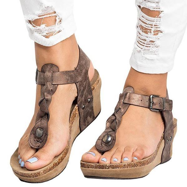 Vrouwen Kunstleer Wedge Heel Sandalen Pumps Wedges Peep Toe Slingbacks met Klinknagel Gesp schoenen