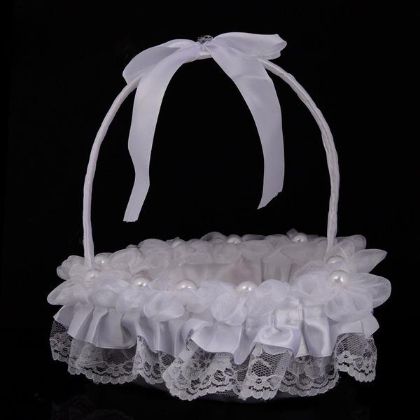 Kaunis Flower Basket sisään Kankaalla jossa Nauhat/Pitsi