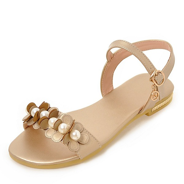 Women's Leatherette Flat Heel Sandals Flats Peep Toe With Buckle Ruffles shoes