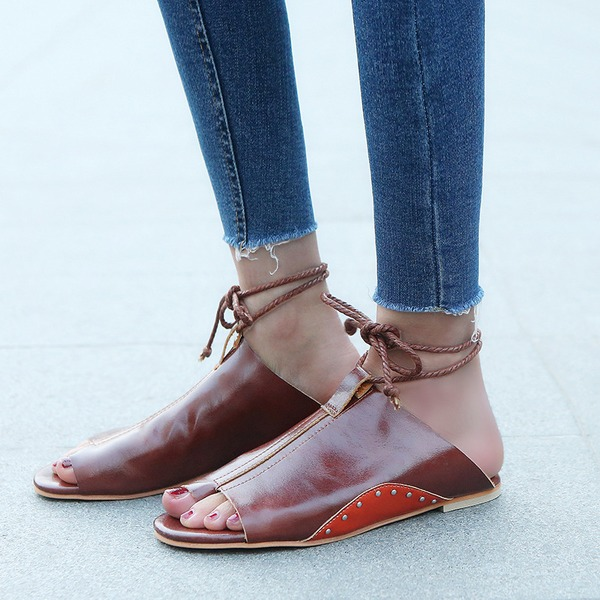 Naisten PVC Matalakorkoiset Heel Sandaalit Matalakorkoiset Peep toe Kantiohihnakengät jossa Nauhakenkä kengät