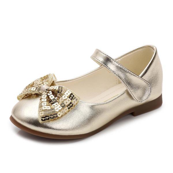 Fille de Bout fermé Cuir en microfibre talon plat Chaussures plates Chaussures de fille de fleur avec Bowknot Paillette Velcro