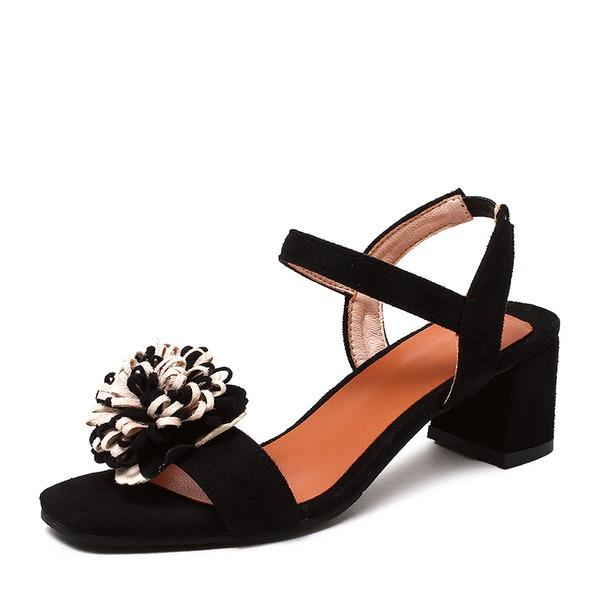 Vrouwen Suede Chunky Heel Sandalen Pumps Peep Toe Slingbacks schoenen