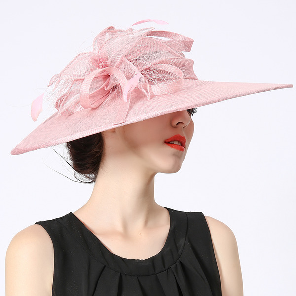Ladies' Glamourous/Simple/Nice Cambric With Feather Kentucky Derby Hats/Tea Party Hats