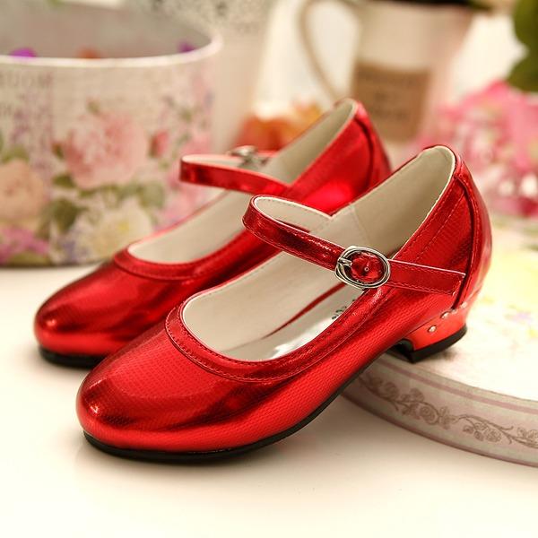 Jentas Leather flat Heel Lukket Tå Flate sko med Spenne