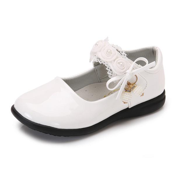 Girl's Ronde neus imitatieleer Flat Heel Flats Bloemenmeisje schoenen met Kralen strik Velcro Bloem