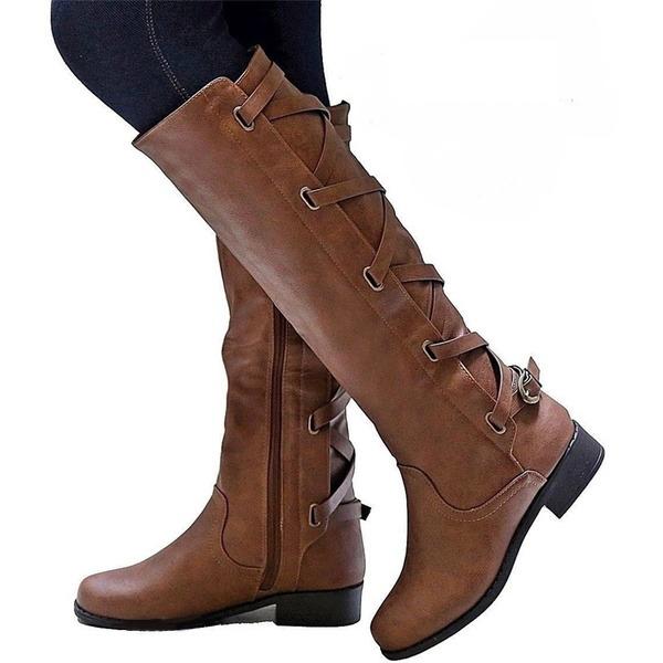 Vrouwen Kunstleer Flat Heel Flats Laarzen Over De Knie Laarzen met Gesp schoenen