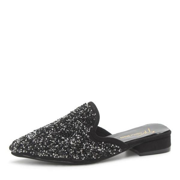 Femmes Pailletes scintillantes Talon plat Chaussures plates Bout fermé Escarpins Chaussons avec Pailletes scintillantes chaussures