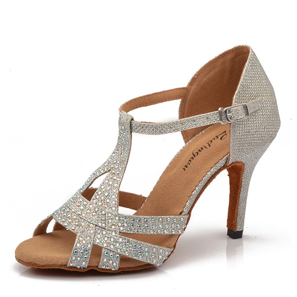 Women's Sparkling Glitter Heels Latin With Rhinestone Dance Shoes