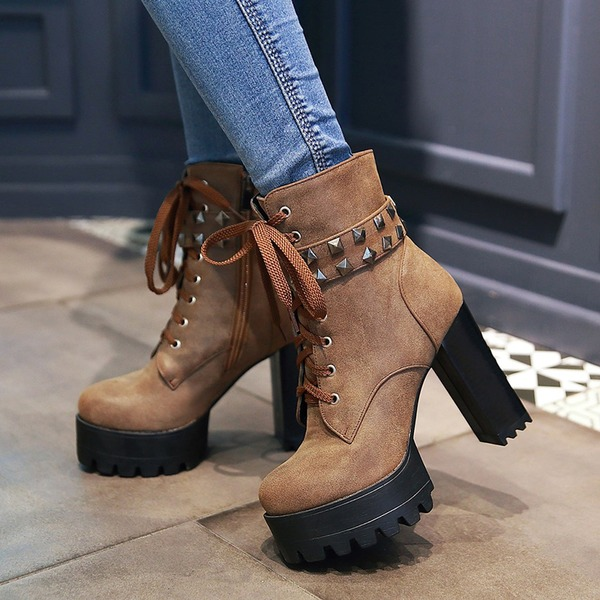 Women's PU Chunky Heel Pumps Platform Boots With Rivet Zipper Lace-up shoes