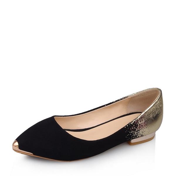 Frauen Veloursleder Flascher Absatz Flache Schuhe Schuhe