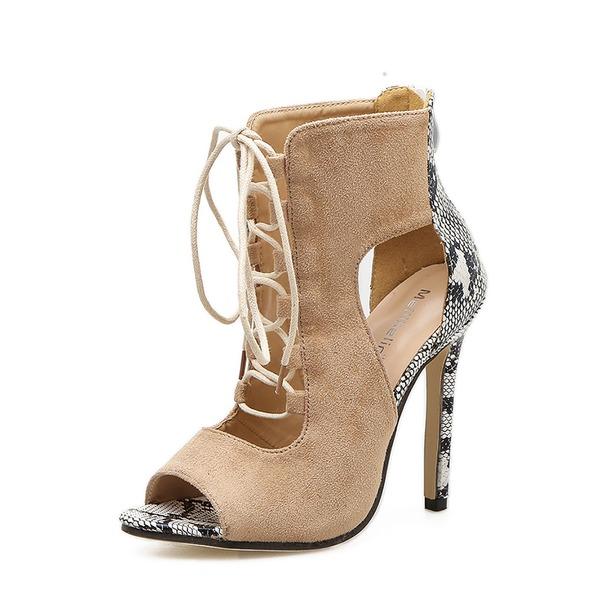 Kvinnor Mocka Stilettklack Pumps Stövlar Peep Toe Boots med Zipper Bandage skor