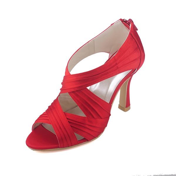 Frauen Satin Spule Absatz Stiefel Peep Toe Absatzschuhe mit Geraffte Reißverschluss