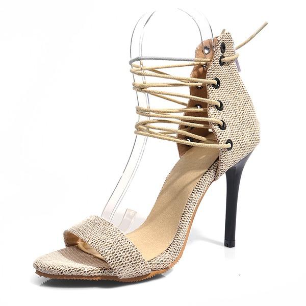 Donna Similpelle Tacco a spillo Sandalo Stiletto Punta aperta con Allacciato scarpe