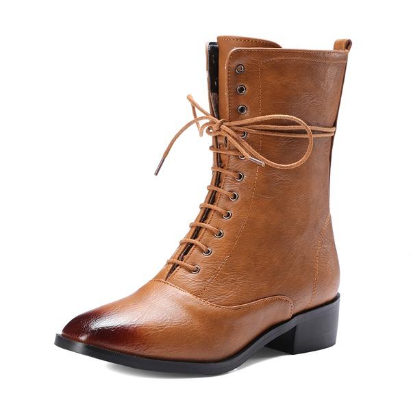Femmes Similicuir Talon bottier Bottes Bottes mi-mollets avec Zip Dentelle chaussures