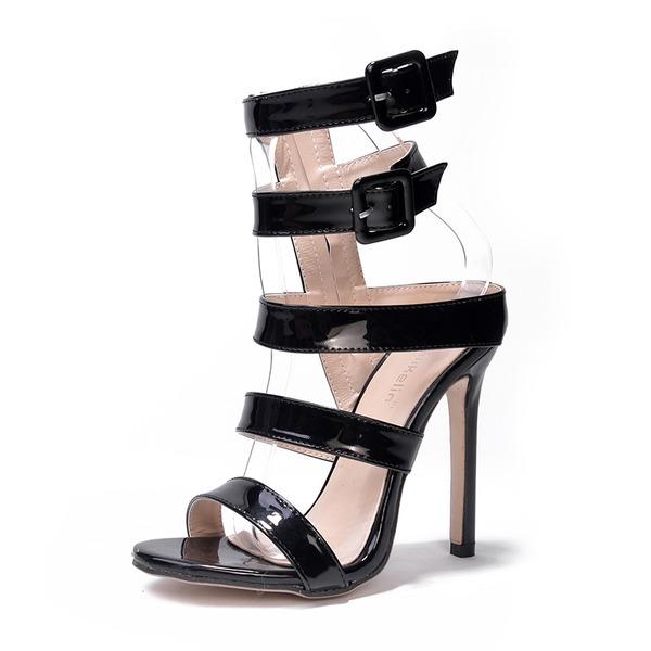 Donna Pelle verniciata Tacco a spillo Sandalo Stiletto Punta aperta Con cinturino con Fibbia scarpe
