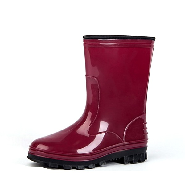 Kvinner PVC Flat Hæl Støvler Mid Leggen Støvler Gummistøvler med Annet sko