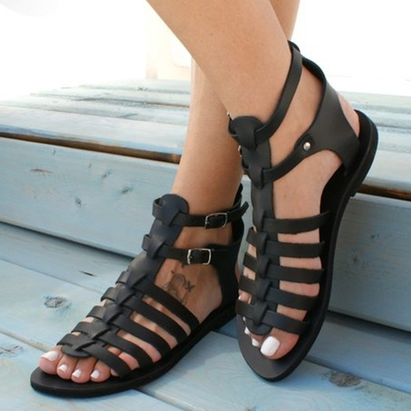 Women's PU Flat Heel Sandals Flats Peep Toe With Buckle Others shoes