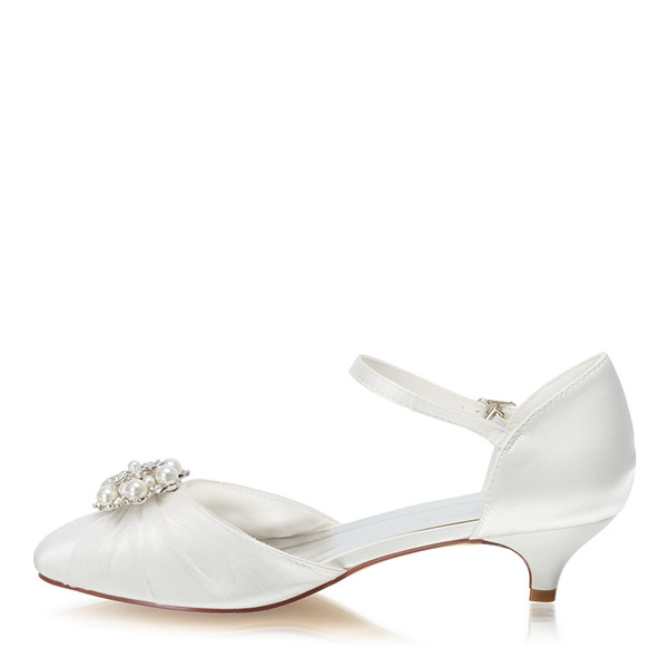 Women's Silk Like Satin Kitten Heel Closed Toe With Crystal Pearl