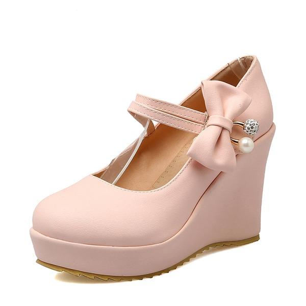 Женщины PU Вид каблука Платформа Танкетка с бантом обувь