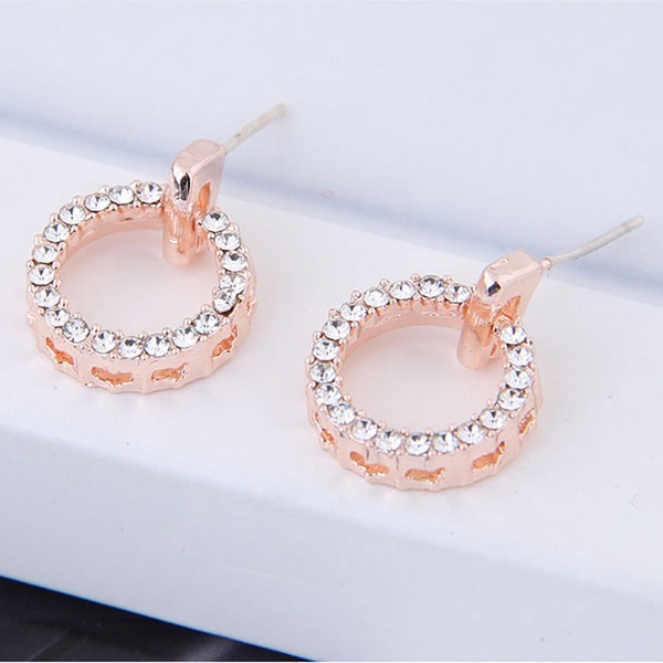 Simple Alliage Strass avec Strass Femmes Boucles d'oreille de mode (Vendu dans une seule pièce)