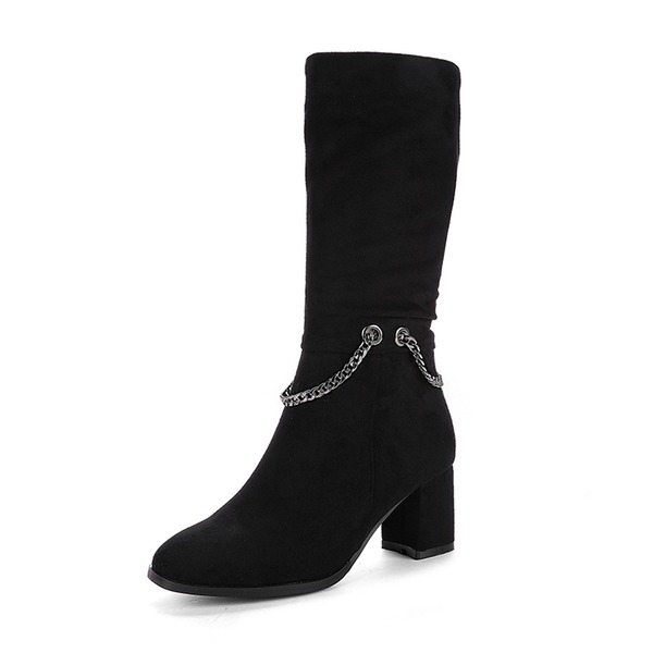 Women's Suede Chunky Heel Pumps Boots Mid-Calf Boots With Zipper Chain shoes